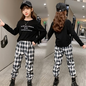 Autumn New Fashion Baby Girls Sets Cotton Long Sleeve T-shirts + Plaid Pants 2pcs Kids Clothes Casual Children Outfits Vestidos