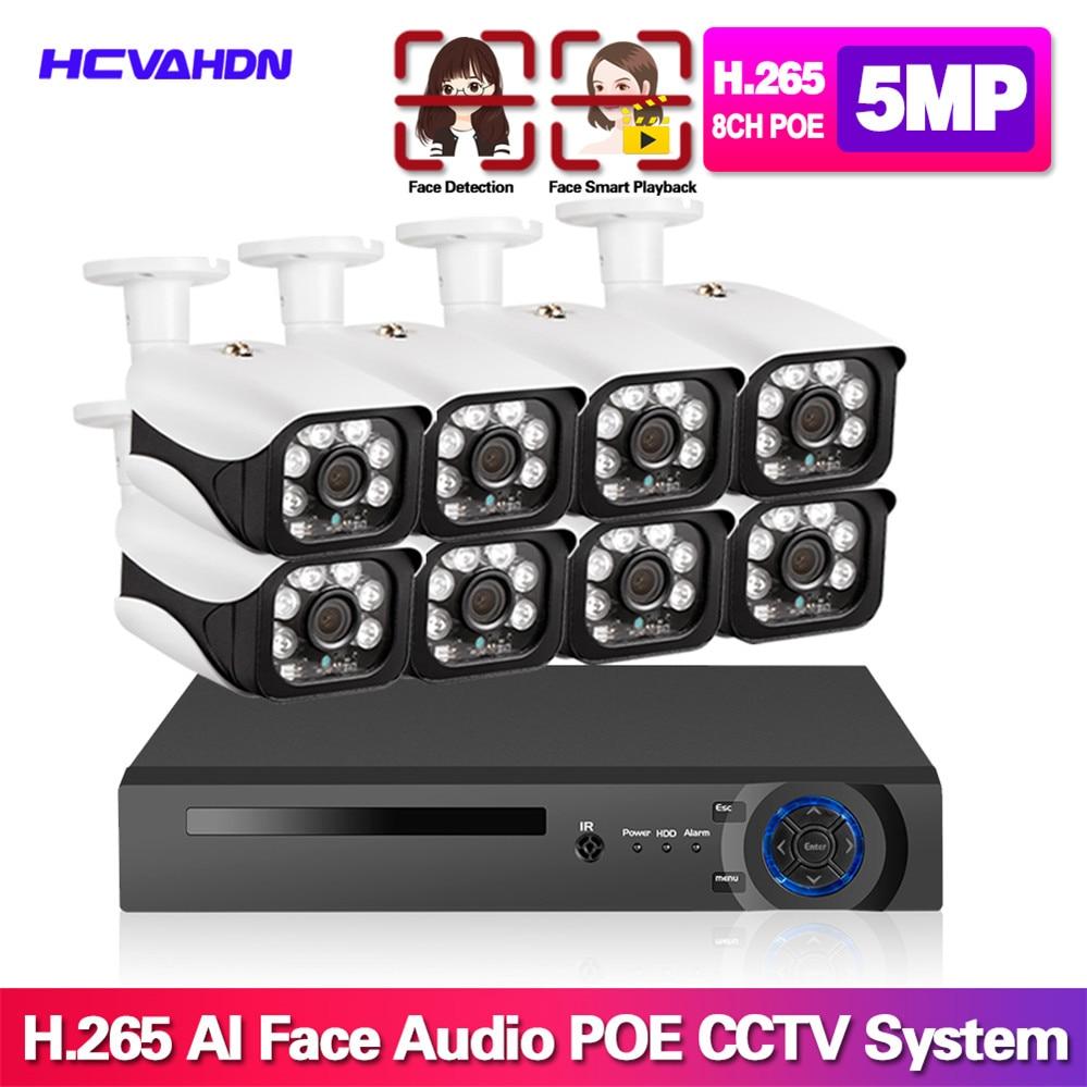 H.265 + 8CH 5MP POE Hi3516E300 NVR Kit de grabación y reproducción de la cara CCTV sistema de seguridad 5MP IR POE IP Cámara P2P Video vigilancia Set