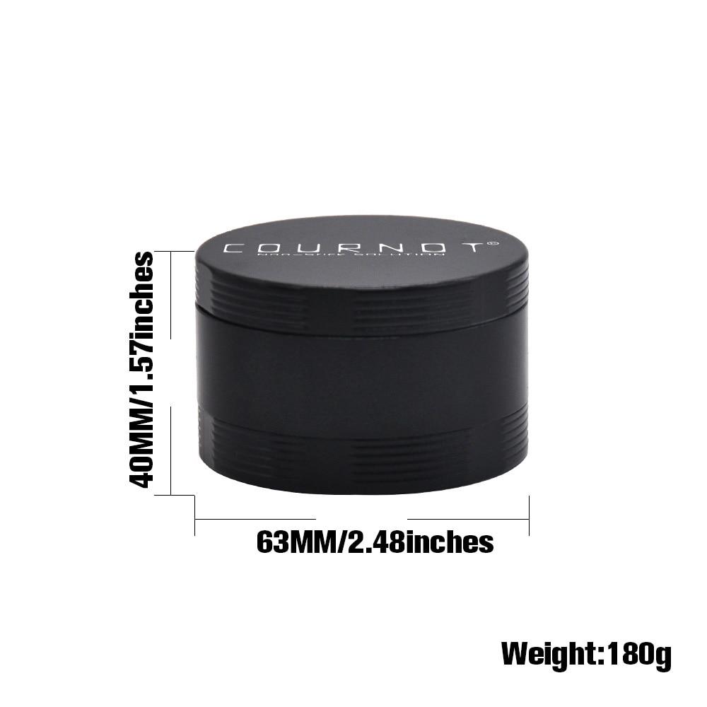 Купить с кэшбэком COURNOT 4 Layers Tobacco Grinder Herb  Aluminum Alloy Non-Stick Metal 63MM 4 Layers Chrsher Tobacco Herb Grinder  Accessories