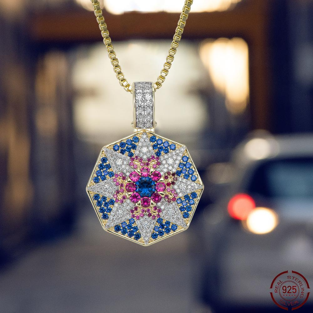 CHENZHON Flower Style Pendants Necklaces For Men Women Iced Out Paved Cubic Zirconia Top Quality Fashion Jewellery Box