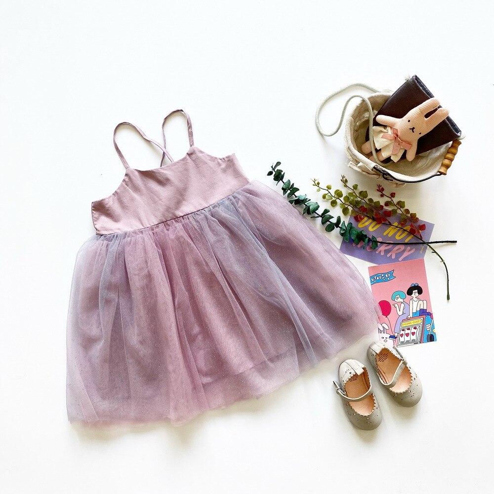 Tonytaobaby Girls Taro Purple Gold Glitter Gauze Strap Dress Ballet Princess Dress  Kids Dresses for Girls