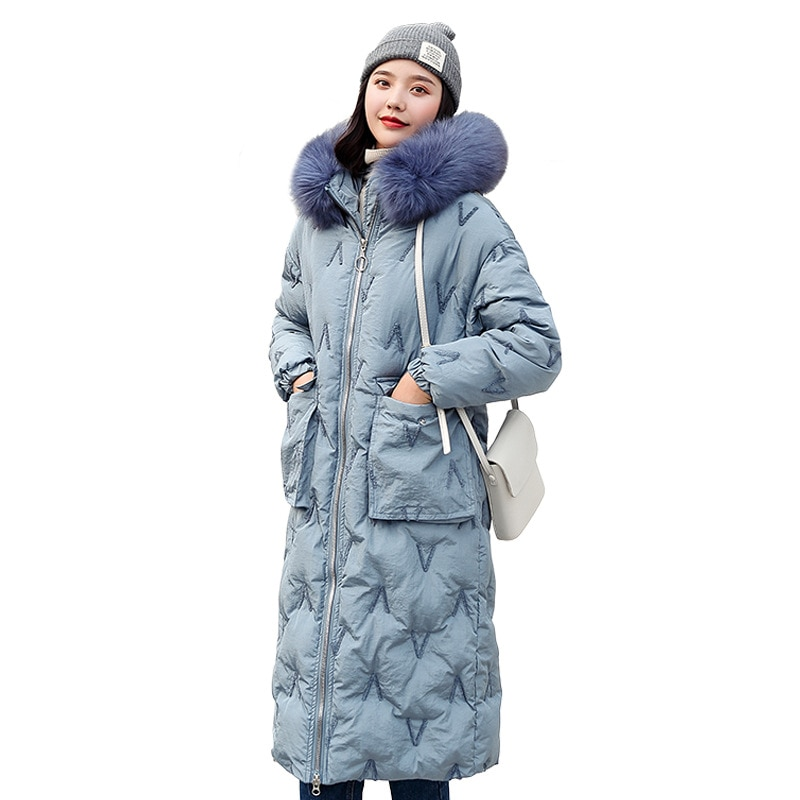Winter Women Down Jacket  Imitation Raccoon Hair collar Cotton Clothing  Letter V Embroidery Long Coat Loose Thicken Warm Parka