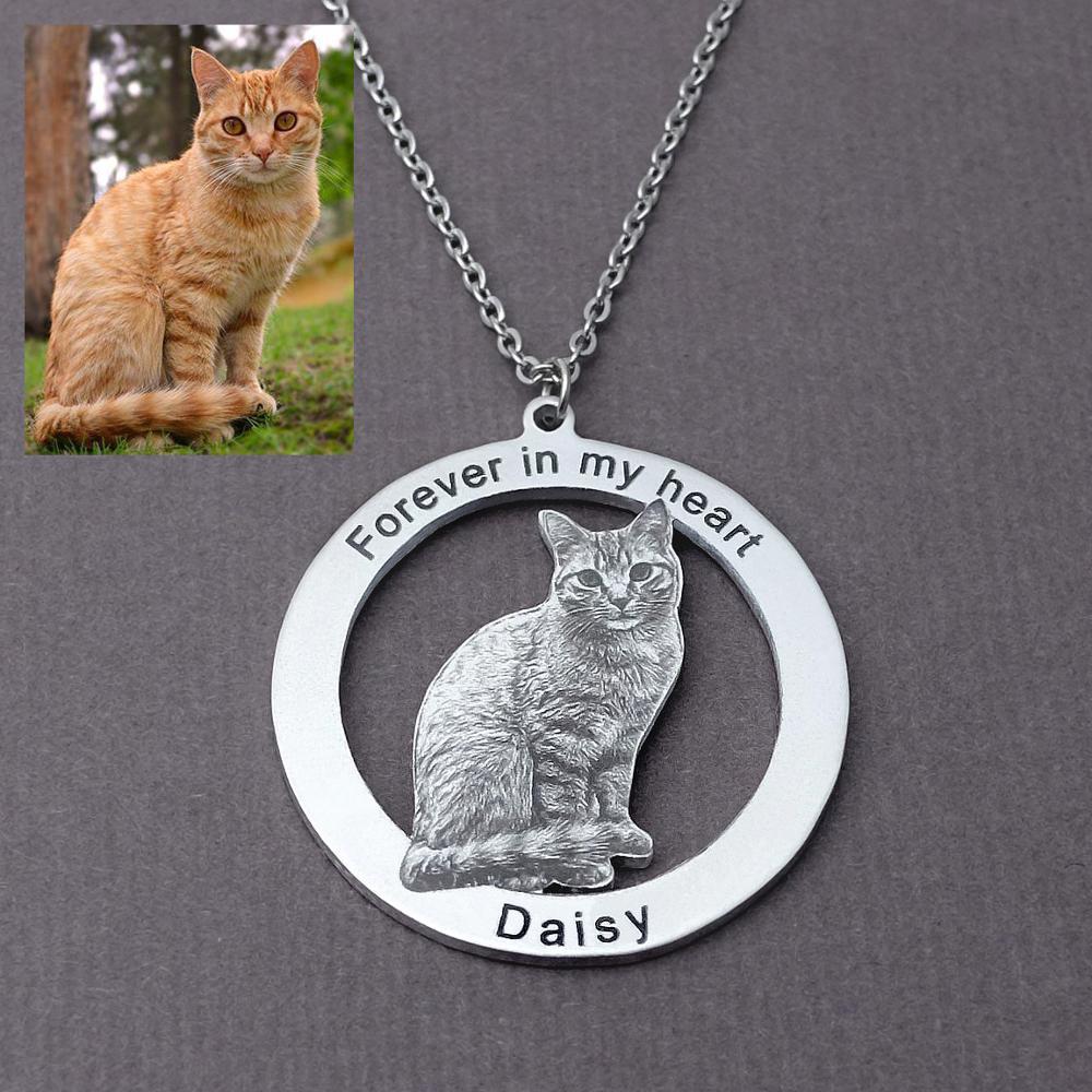 Персонализированная кошка ожерелье с фото для любителей домашних животных фото на заказ, ожерелье с гравировкой имени фото кулон подарок д...