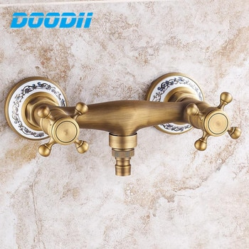 Brass antique hot and cold water washing machine inlet faucet in-wall retro blue and white porcelain ceramic Tap Torneira parede
