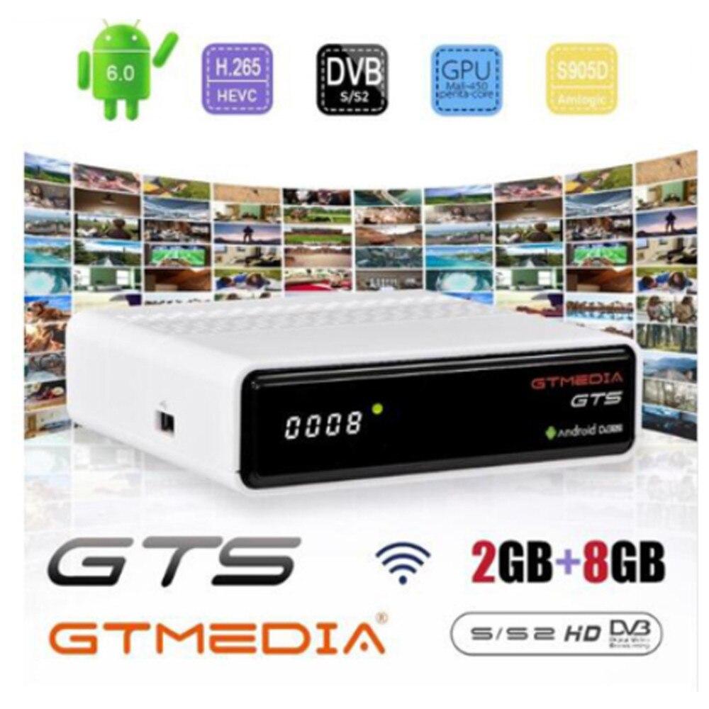 GTmedia GTS receptor de satélite DVB-S2Android 6,0 TV BOX + DVB-S/S2 android 6,0 TV BOX 2GB RAM 8GB ROM BT4.0 opcional