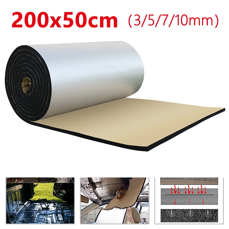 50*200CM Aluminum Foil Sound Deadener Insulation Mat Noise Heat Shield Insulation Car Deadening Foam Cotton Sound 3/5/7/10mm