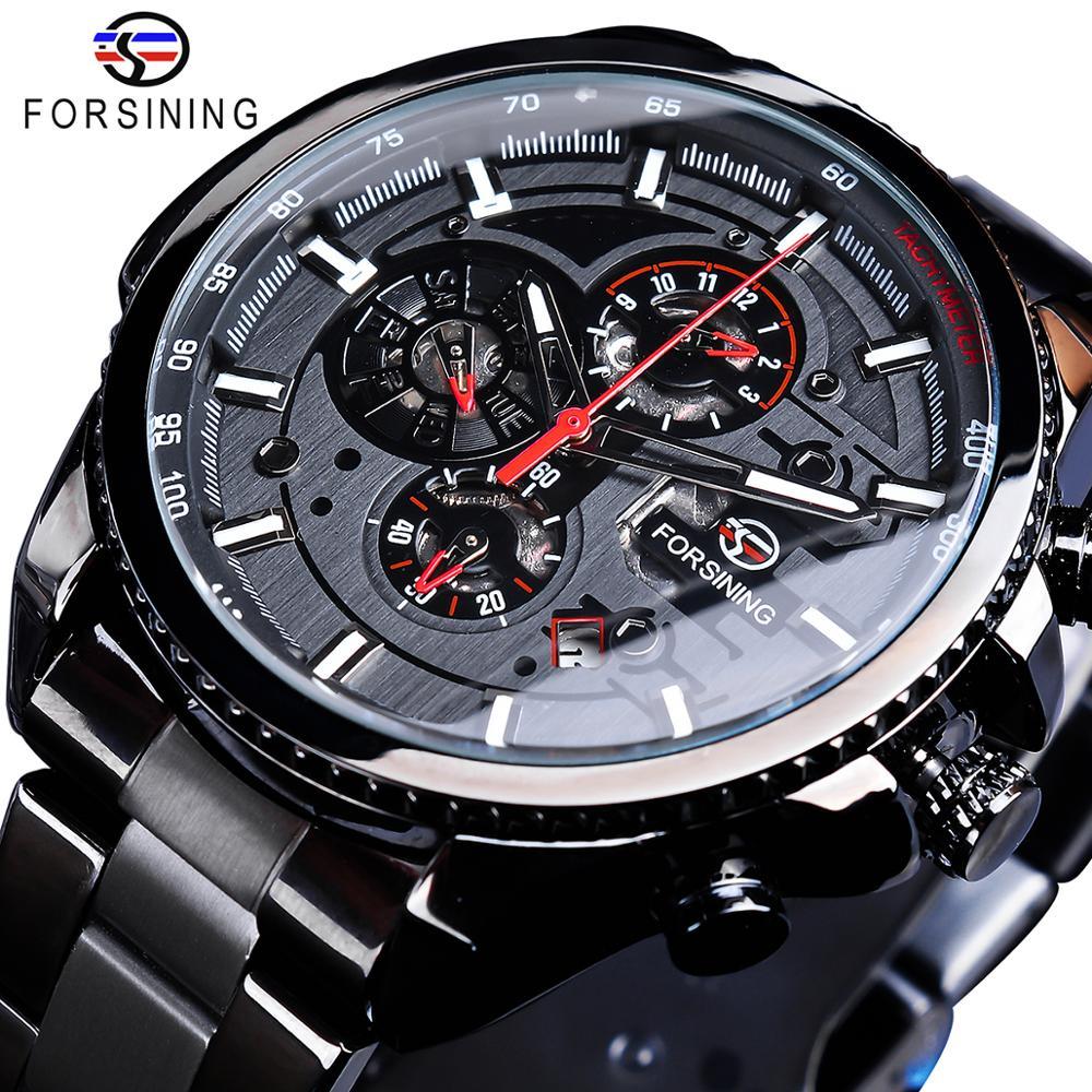 Forsining Three Dial Calendar Stainless Steel Men Mechanical Automatic Wrist Watches Top Brand Luxur