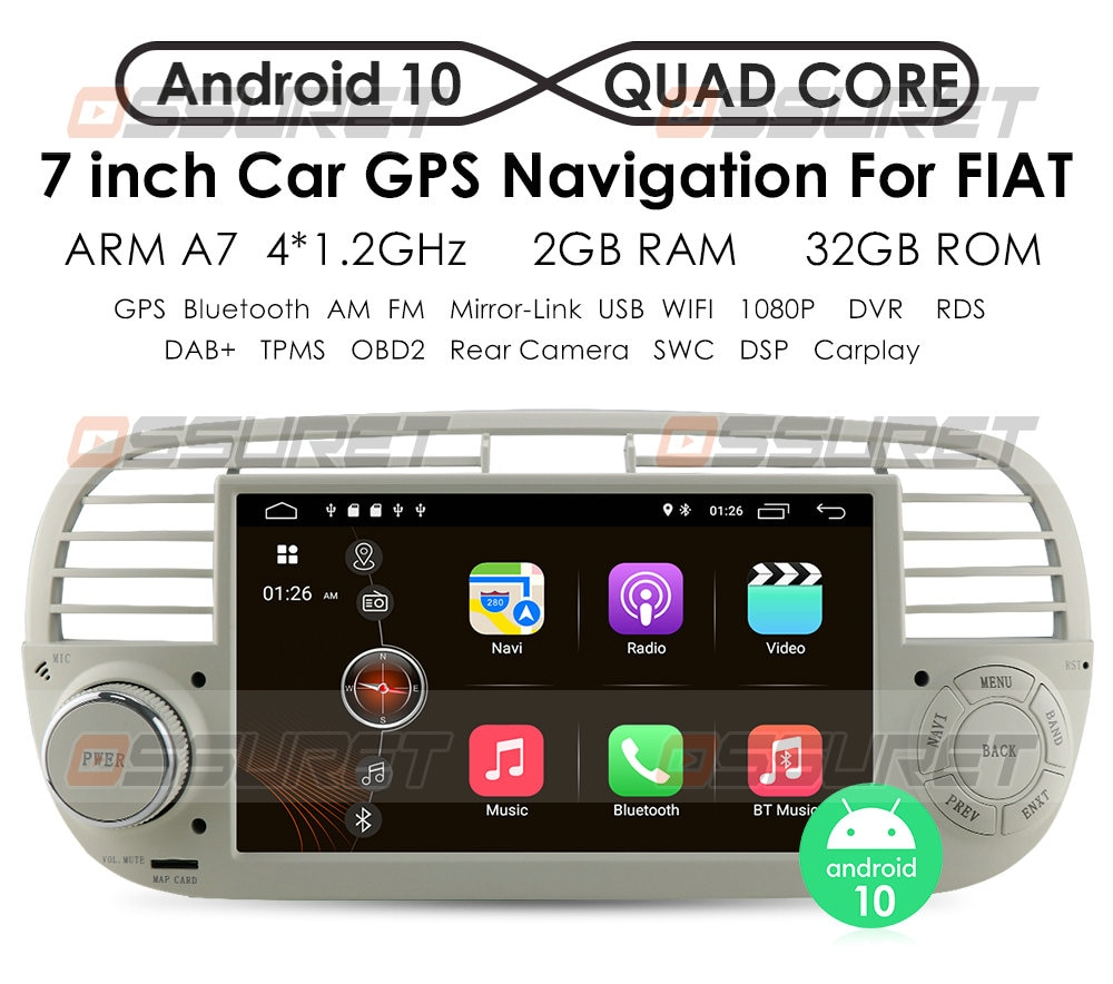 CarPlay autoradio Android10 Quad Core Car Dvd media Player FOR FIAT 500 Radio Multimedia Buit in DPS