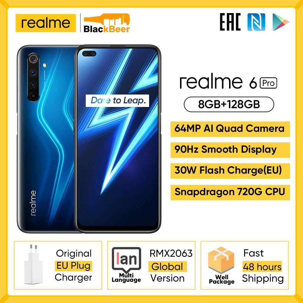 realme 6 Pro 6pro Octa Core Smartphone Snapdragon 720G 8GB 128GB Mobile Phone 6.6