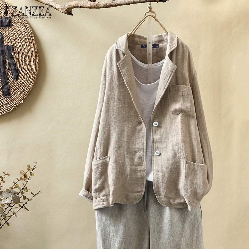 ZANZEA Women Plus Size Blazers 2020 Fashion New Autumn Coat Jackets Vintage Solid Loose Pockets Suit Blazer