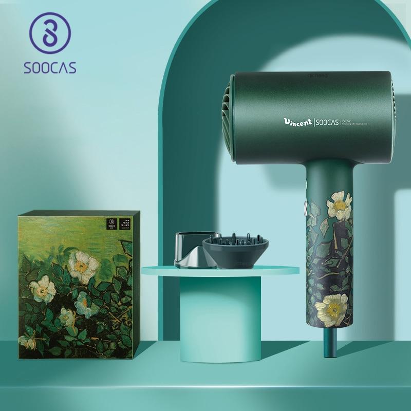 SOOCAS-مجفف شعر احترافي من سبائك الألومنيوم ، مجفف شعر كهربائي ، 1800 واط ، قابس أوروبي أصلي ، Vangogh ، H5