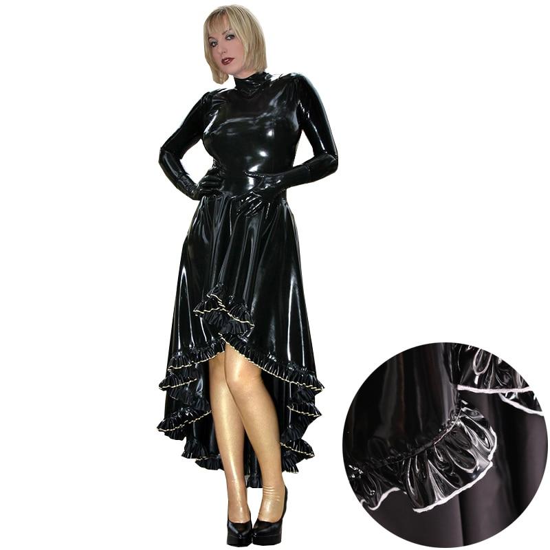 فستان مثير للنساء بتصميم صنم متناسق مع فستان طويل من الجلد الصناعي اللدائن ، قفازات طويلة ، زي حفلات للملهى الليلي ، أزياء مخصصة للهالوين