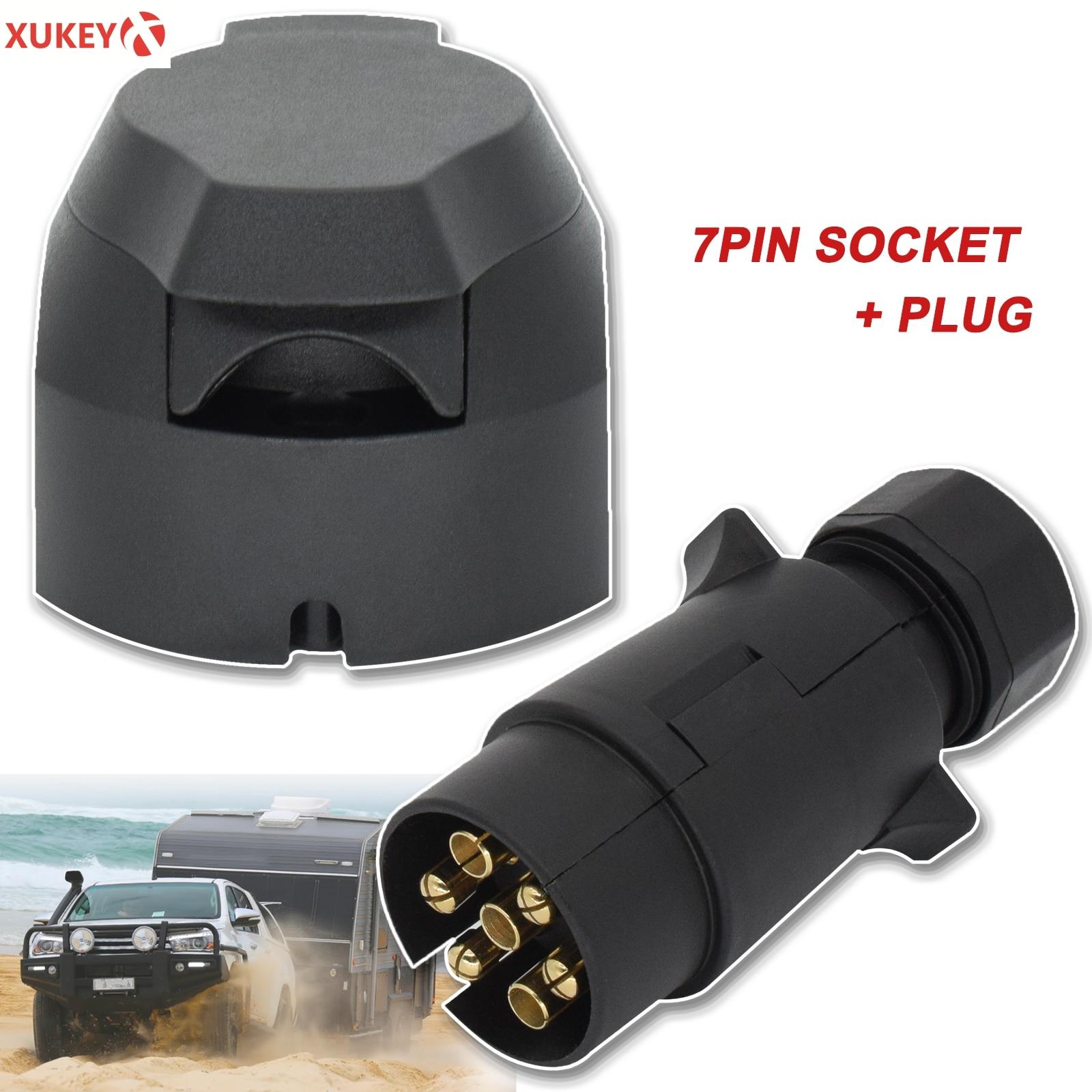 7 Pin 12V European Trailer Socket + Plug Tow Bar Electrics Connector Adapter For RV Truck Vans Caravans Transfer Signal Adapter