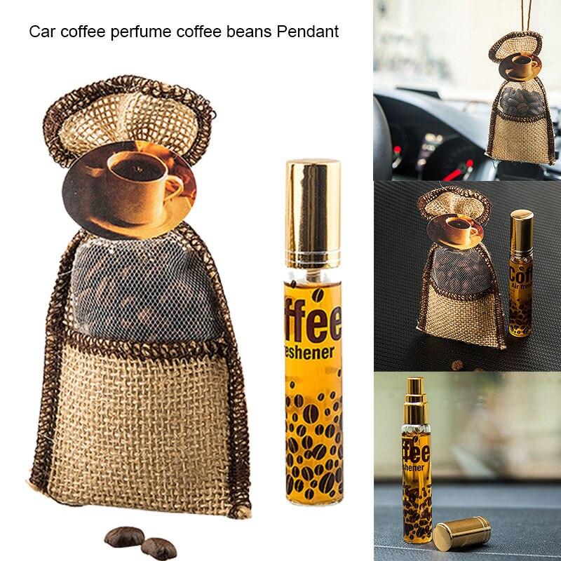 Auto adornos de café colgando café en Sachet aromaterapia colgante coche espejo...