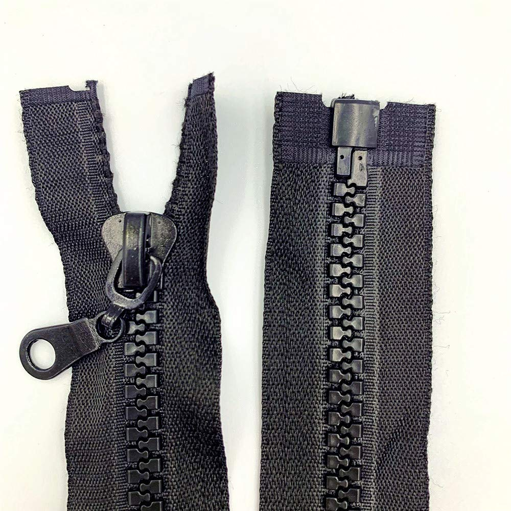 2 uds. 8 #(27,5-47 pulgadas) separador a granel cremalleras para costura de resina abrigos chaqueta cremallera negro cremalleras de plástico moldeadas