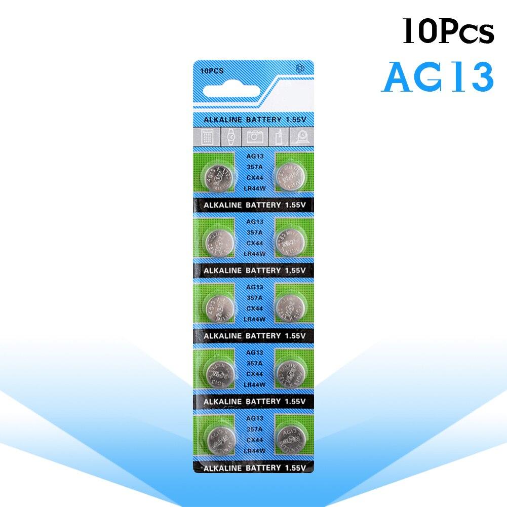 Hot Sale 1.5V 10Pcs AG13 Alkaline Button Cell Coin Battery LR44 L1154 RW82 RW42 SR1154 SP76 A76 357A