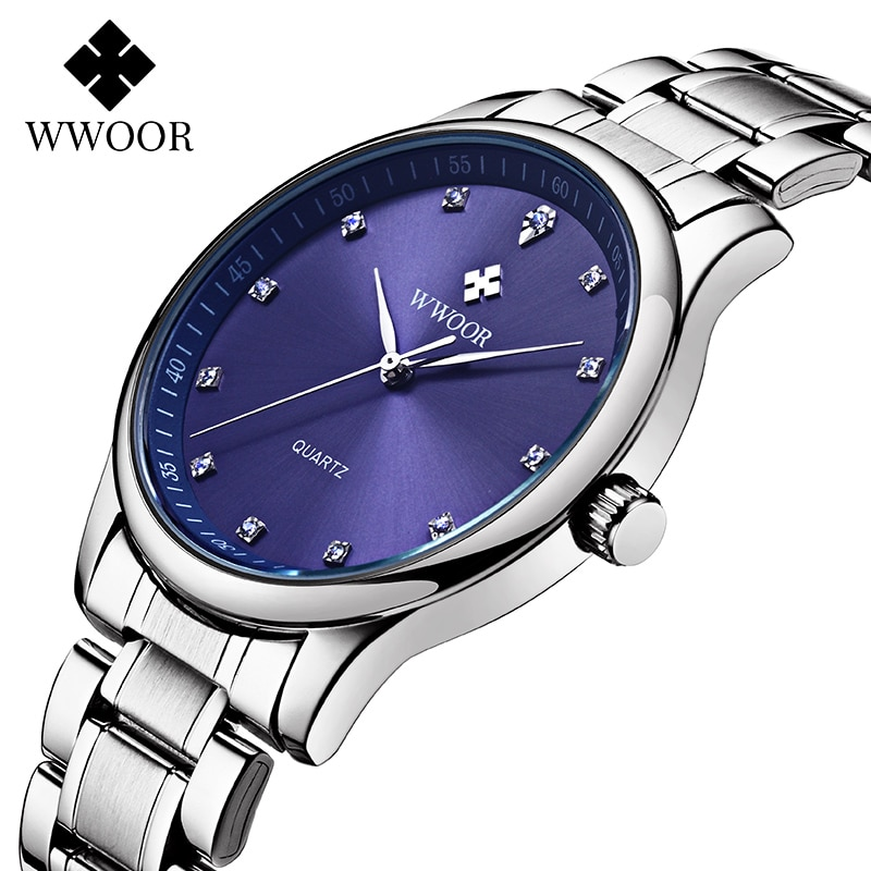 2020 WWOOR Blue Watches Mens Top Brand Luxury Diamond Full Steel Watch Men Casual Business Quartz Wristwatch Man kol saati erkek