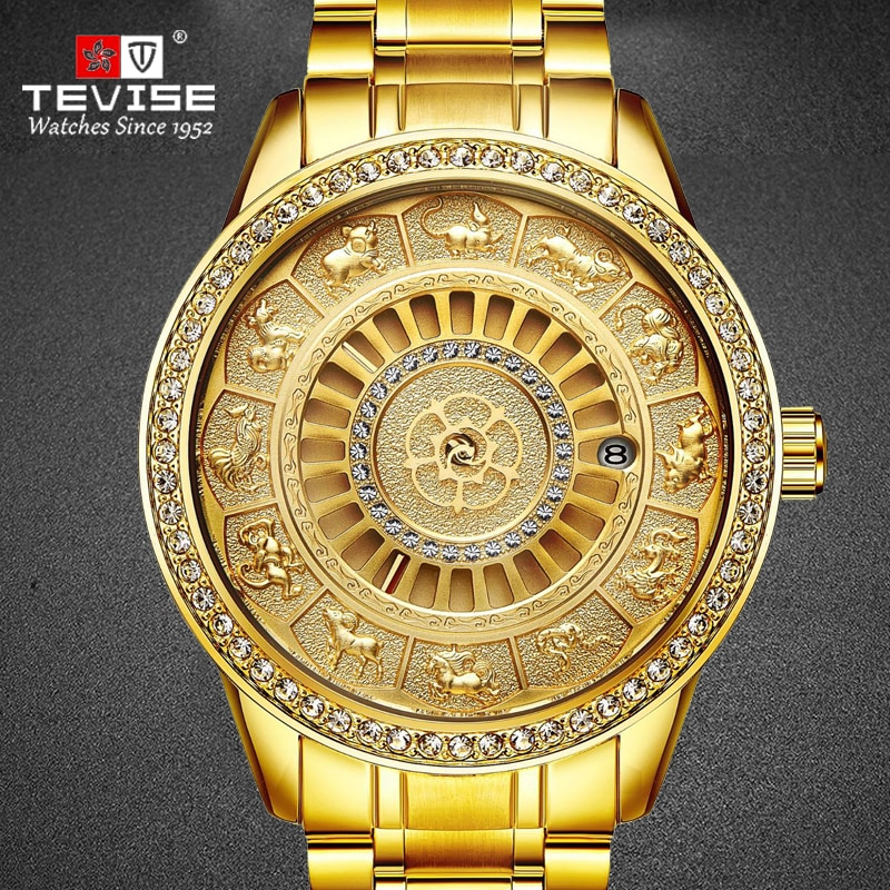 2020 Newest TEVISE Golden Stainless Steel Men Watch Automatic Mechanical Wristwatches Male Clock saa
