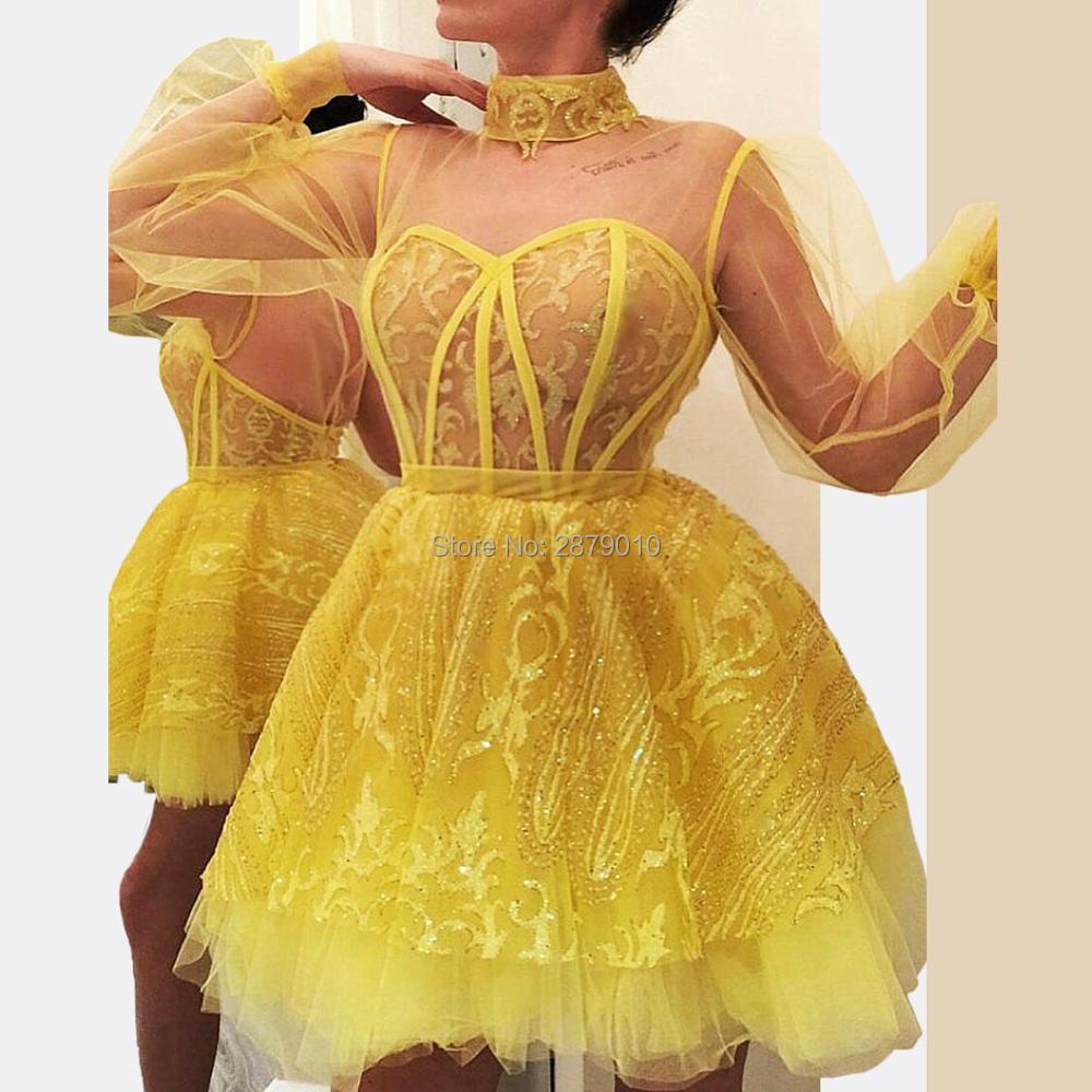 Cariño amarillo vestido de fiesta con lentejuelas-longitud de la manga tul vestido de Club vestido de cóctel Коктейльный костюм Dubai