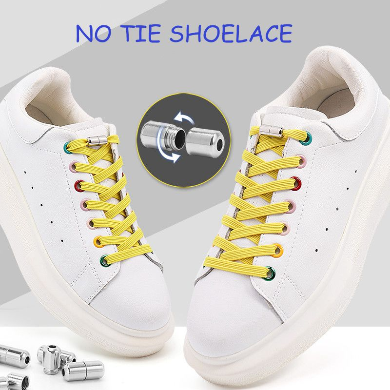No Tie Shoe laces Flat Shoelaces for Sneakers Elastic Laces without ties Kids Adult Quick lace for Shoes Rubber Bands Shoestring