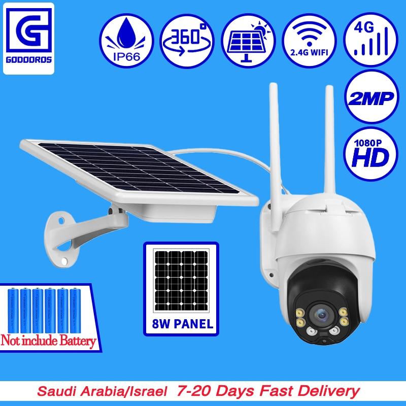 GODOOROS 4G LTE FDD GSM Solar Power Battery Wireless PTZ HD 1080P Outdoor Waterproof Security Surveillance CCTV IP Camera