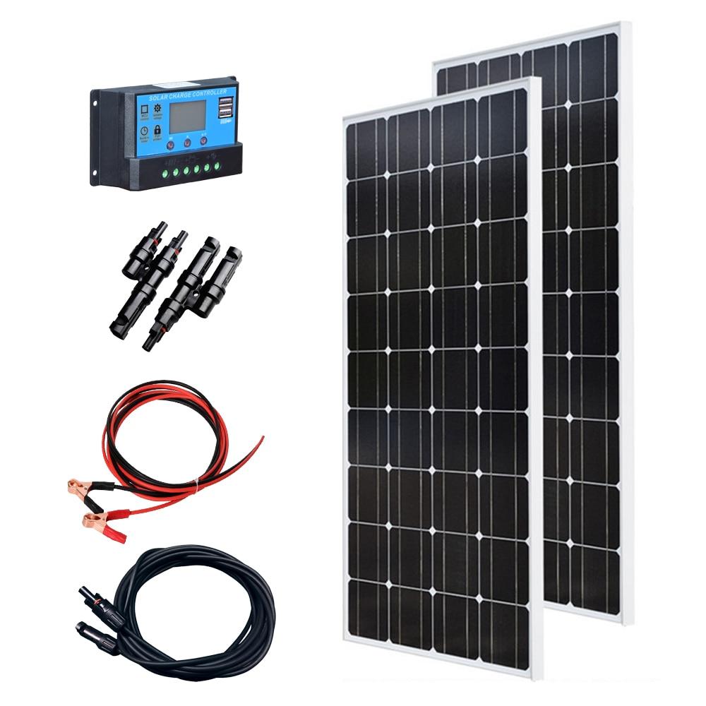 18 فولت أو 36 فولت لوحة زجاجية شمسية عدة 240 واط أحادية خلية PV 12 فولت 24 فولت بطارية شاحن المنزل في الهواء الطلق شحن