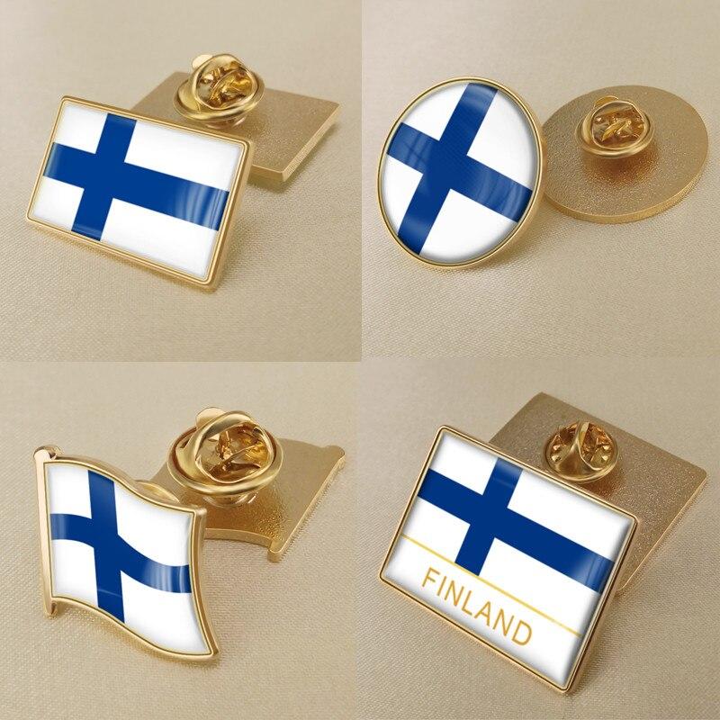 Brasão de armas da finlândia/finlandeses bandeira nacional emblema broche/emblemas/pinos de lapela
