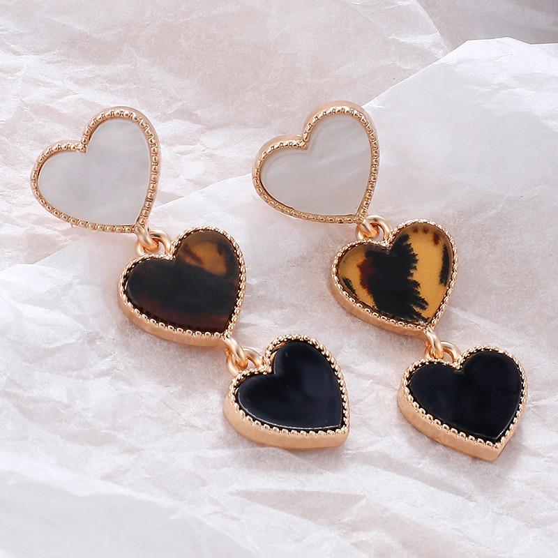 Aensoa 2021 New Design Leopard Heart Long Drop Earrings For Women Vintage Fashion Long Statement Dangles Earring Trendy Jewelry Hoop Earrings Aliexpress