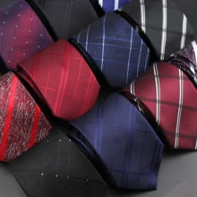 Colliers à rayures classiques pour hommes, tissé Jacquard, tissé solide, à pois, rouge, bleu marine, pour mariage, à la mode
