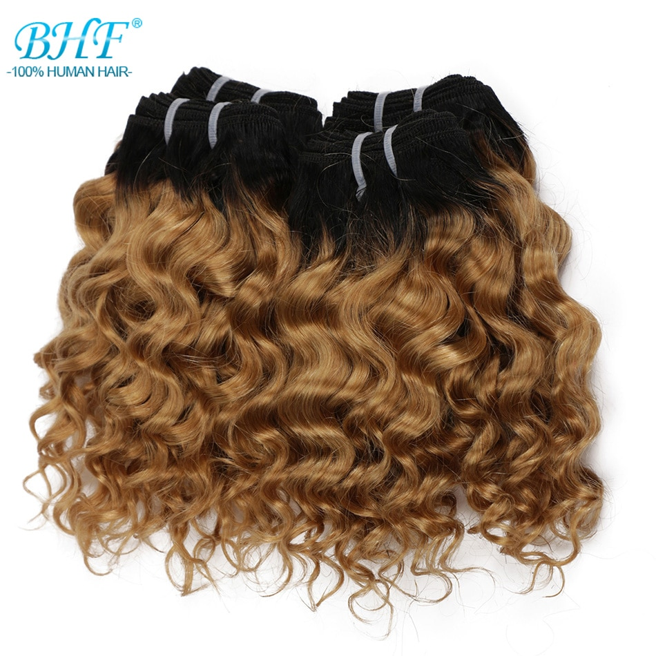 BHF Brazilian Hair Deep Wave Curly 100% Natural Human Hair Bundles 50g Remy Funmi weft Can Make a Wi