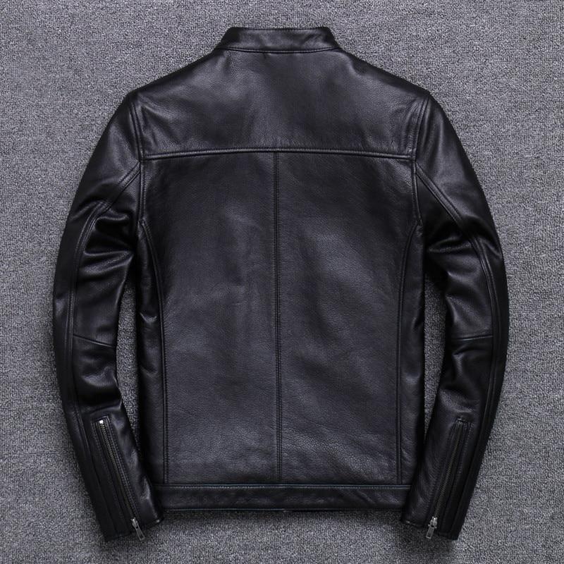 2021 الأسود الوقوف طوق دراجة نارية نمط جلد طبيعي سترة الرجال حجم كبير 5XL الحقيقي الطبيعي جلد البقر الربيع ضئيلة معطف