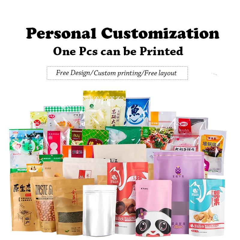 1 unids/lote de bolsas de papel Kraft de impresión personalizada de alta calidad bolsas de café de grano de café bolsas de cremallera pequeña bolsas de sellado térmico