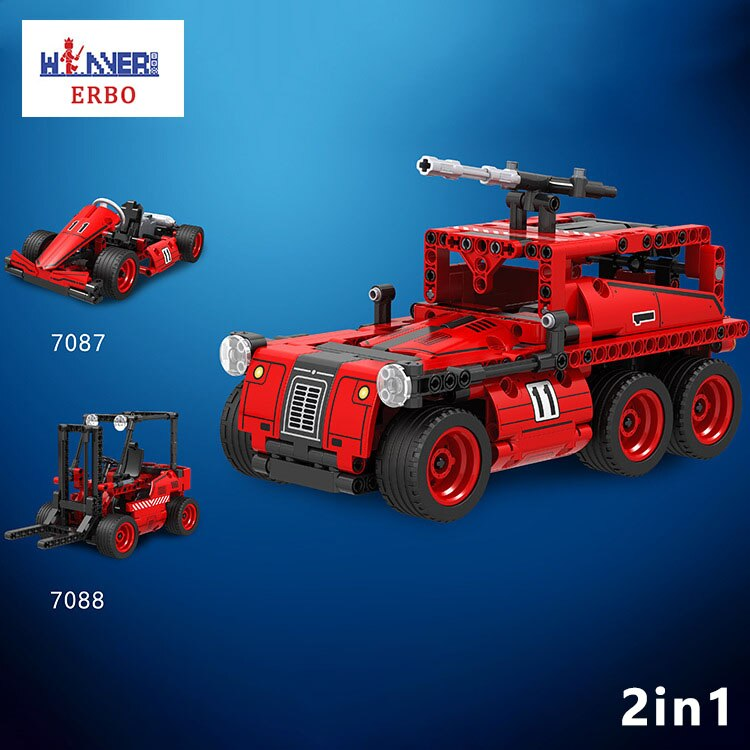 ERBO טכני אבני בניין Creative Kart מלגזת שני-in-one אש משאית לבנים DIY למשוך בחזרה לרכב דגם מכונית צעצועי ילדי מתנה