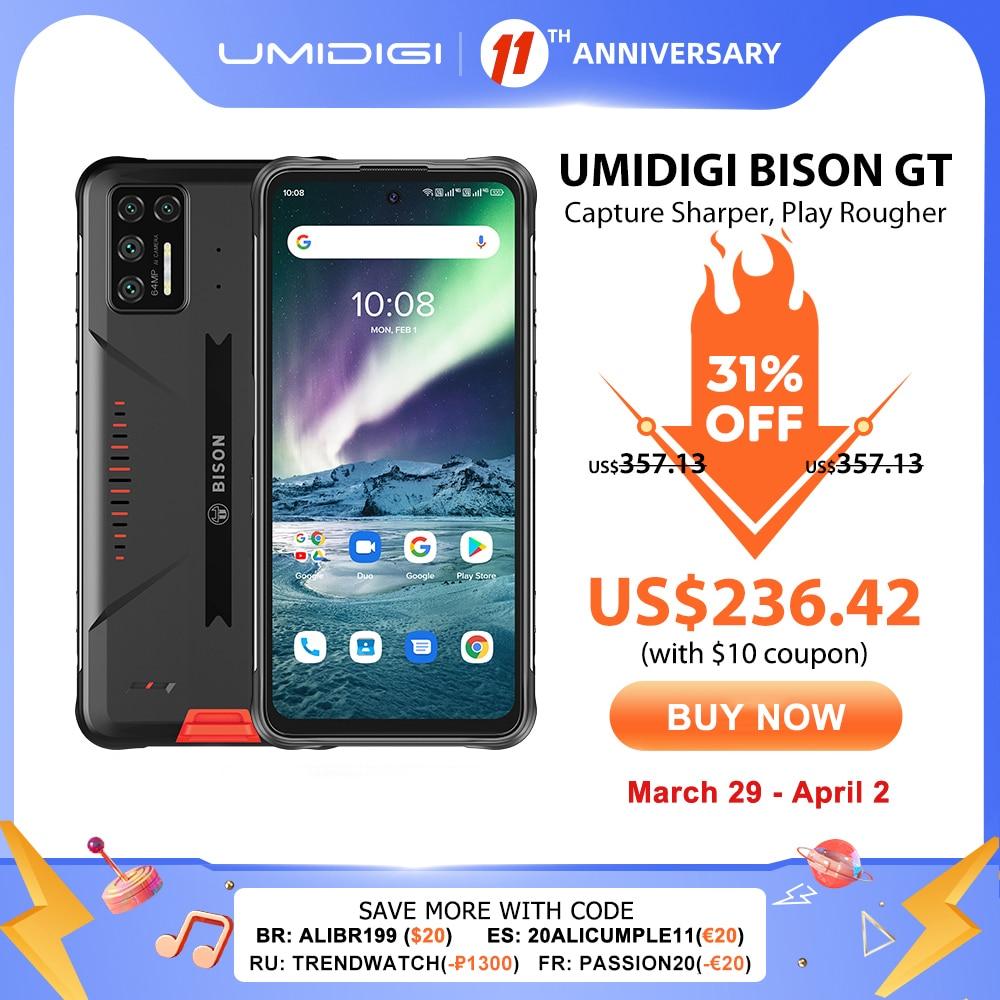 "UMIDIGI BISON GT Waterproof IP68/IP69K Helio G95 Rugged Phone 64MP AI Quad Camera 8GB+128GB 6.67"" FHD+ 33W Charger Smartphone"