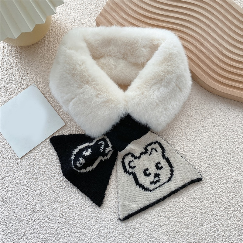 Japanese and Korean Style Cartoon Animal Face Children's Wool Scarf Autumn and Winter New Plain Baby Cross Knitted Bib New