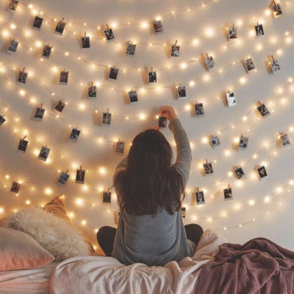 Corda de fadas foto clipe luz led decoração de natal para casa guirlanda pingente decoração da árvore de natal 2020 navidad ornamentos natal