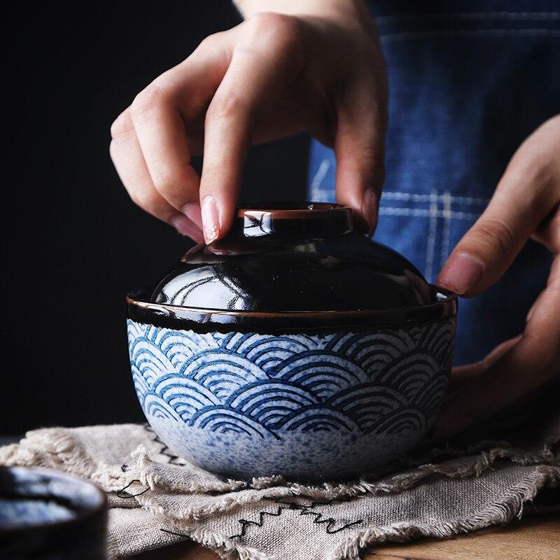 Cuenco Retro de cerámica japonés anowall pintado a mano, cosido al vapor, tazón de sopa con tapa Tureen