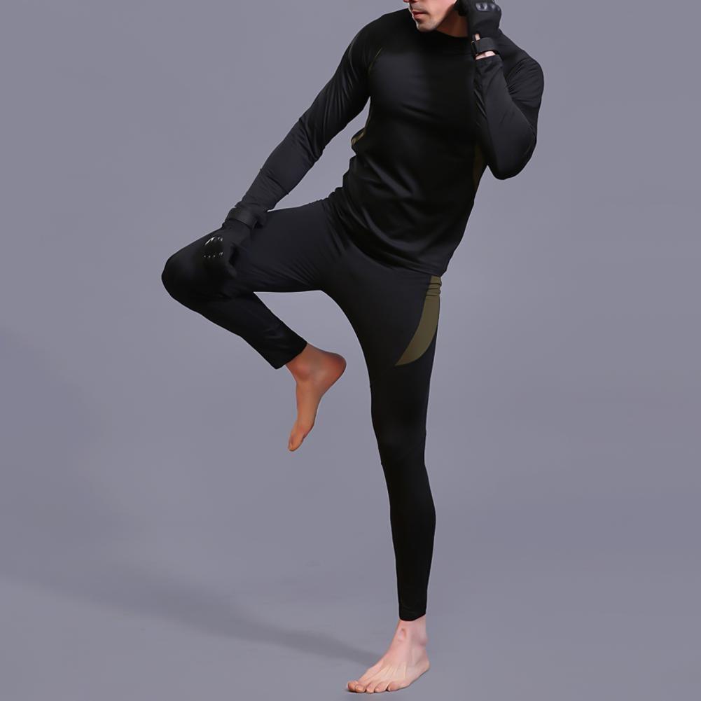 Унисекс зима длинный рукав блузка топ брюки быстросохнущий термобелье нижнее белье комплект