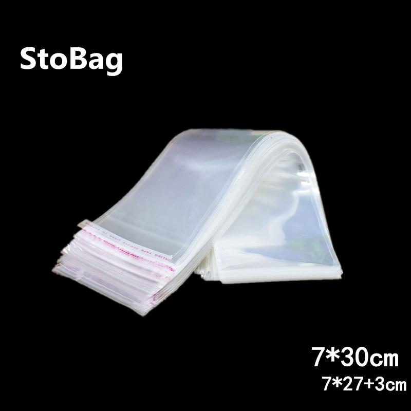 StoBag 1000 Uds. Bolsas de sellado autoadhesivas transparentes de plástico de celofán de 7*30cm OPP para regalos, bolsas de caramelos y bolsas para embalaje de joyas