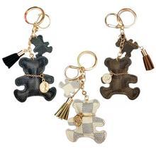 Nouveau mode porte-clés mignon Style ours Faux cuir gland Simple décor sac pendentif clé de voiture suspendus accessoires cadeau livraison directe