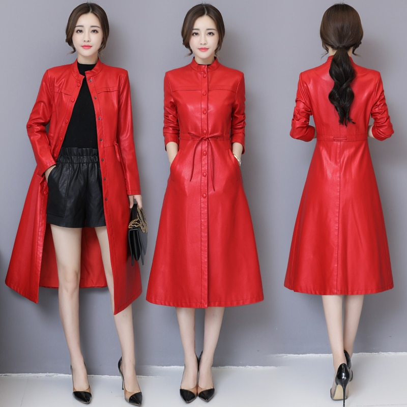 Fashion Women Leather Jacket Winter Autumn Plus Size 5XL X-Long Soft Faux Leather Coat Slim High Quality Thick Warm Trench Coat enlarge
