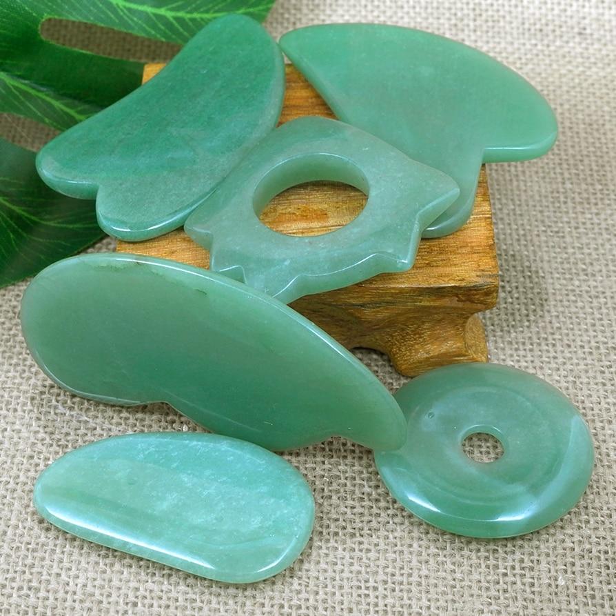 Hot Massage Tool Guasha Board Natural green jade scraping plate scraper stone massager thin slimming face v-line beauty