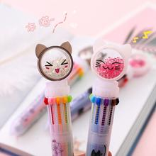 1PC Kawaii Multi-color 10 Colors Lovely Cat Ballpoint Pen Graffiti Pen For Kids Monocerus Painting Ball Pen School Stationery