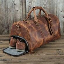 En cuir véritable hommes sacs de voyage chaussure poche main bagages sacs fou cheval en cuir sacs de sport en plein air