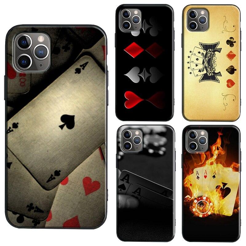 Espadas Poker jugar Ace caso iPhone 11 Pro Max SE 2020 6S 8 7 Plus X XR XS Max Shell