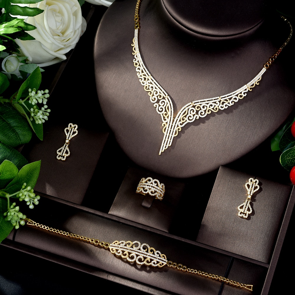 HIBRIDE عالية الجودة مكعب زركونيا الزفاف قلادة و أقراط الفاخرة كريستال مجوهرات الزفاف مجموعات ل وصيفات الشرف N-861