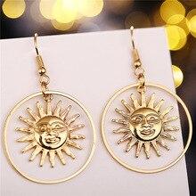 2019 oro nuevo Sun Apollo Helios pendientes gota geométrica bucle sol cara cuelga los pendientes para las mujeres joyería de moda coreana regalo