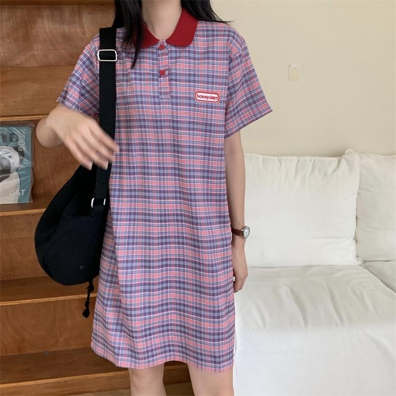 Vestido de xadrez feminino harakuju estilo preppy meninas cor combinando polo gola t camisa vestido all-match estudante roupas femininas 2020