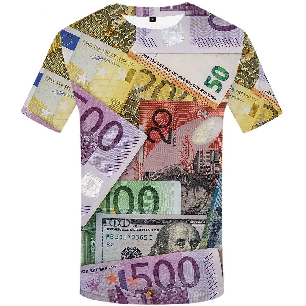 Футболка с принтом доллара для мужчин и женщин, Детская футболка с рисунком денежных купюр, в готическом стиле, забавная крутая детская одеж...