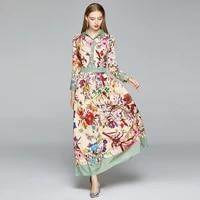 merchall 2020 fashion autumn spring runway long dress woman long sleeve chic floral print holiday beach maxi dress vestidos